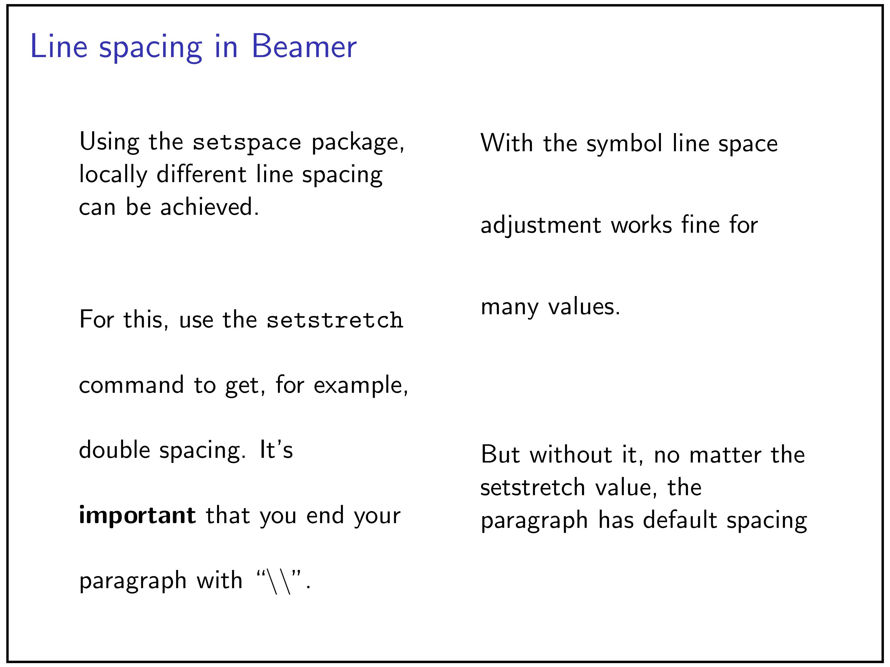 Local line spacing in LaTeX Beamer · 3 Diagrams per Page
